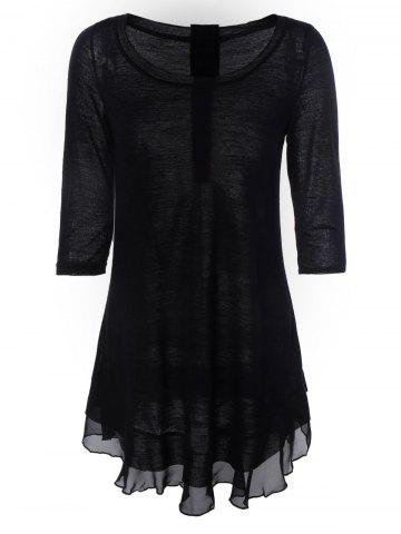Online Chic Women's Buttoned Chiffon Spliced Asymmetric Dress BLACK XL