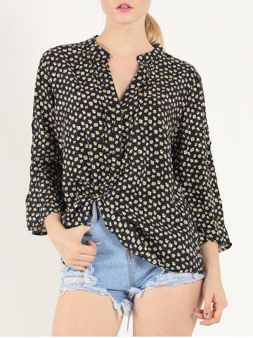 New Casual 3/4 Sleeve V Neck Print Shirt