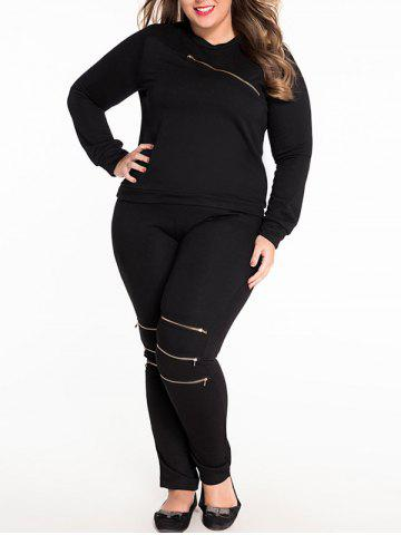Outfit Plus Size Zipper Decorated Sweatshirt and Pants