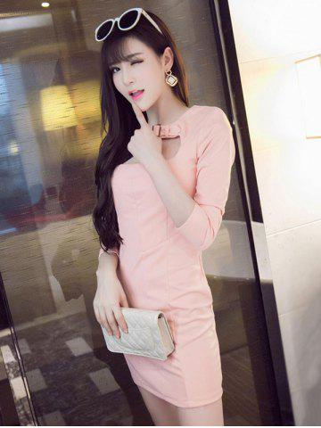 Front Cut Out Zip Up Long Sleeve Mini Bodycon Dress - Light Pink - S