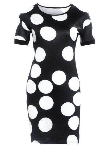 Shop Short Sleeve Polka Dot Print Slimming Dress BLACK XL