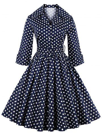 Affordable Retro Polka Dot Print 3/4 Sleeve Flare Dress With Belt PURPLISH BLUE 4XL