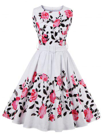 Sale Retro Rose Floral Print Sleeveless Flare Dress With Belt