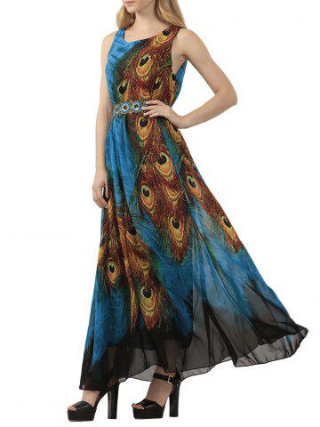 Best Bohemian Tie-Dye Peacock Leather Print Maxi Dress PEACOCK BLUE XL