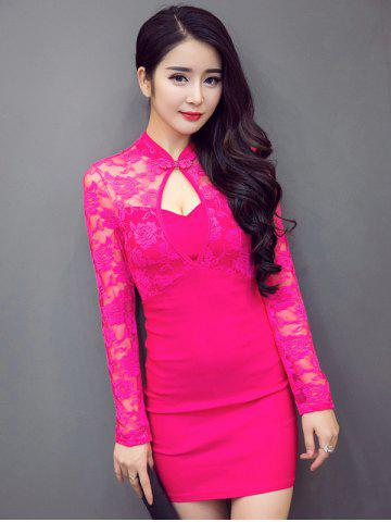 Chic Front Cut Out Mandarin Collar Long Sleeve Lace Dress ROSE RED L