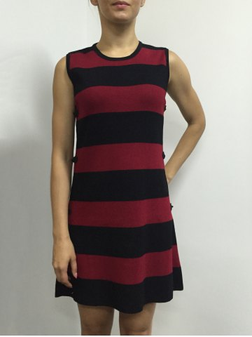Best Button A Line Striped Sleeveless Jumper Dress