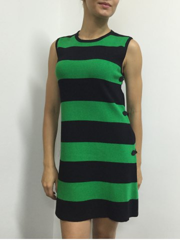 Unique Button A Line Striped Sleeveless Jumper Dress - ONE SIZE GREEN Mobile