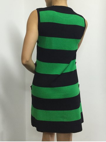 Latest Button A Line Striped Sleeveless Jumper Dress - ONE SIZE GREEN Mobile