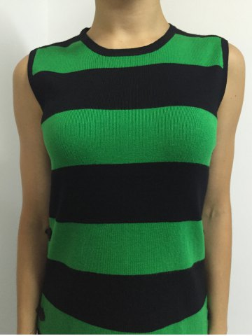 Affordable Button A Line Striped Sleeveless Jumper Dress - ONE SIZE GREEN Mobile