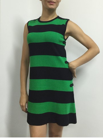 Buy Button A Line Striped Sleeveless Jumper Dress - ONE SIZE GREEN Mobile