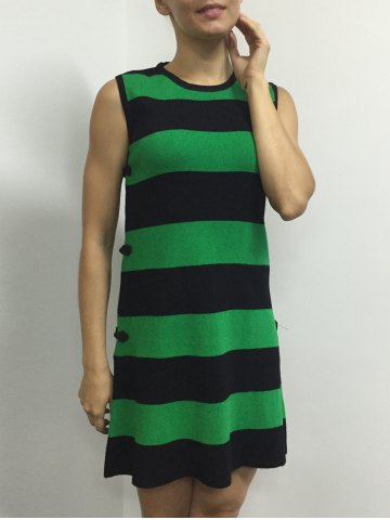 Trendy Button A Line Striped Sleeveless Jumper Dress - ONE SIZE GREEN Mobile