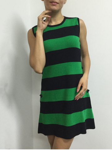 Fancy Button A Line Striped Sleeveless Jumper Dress - ONE SIZE GREEN Mobile