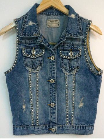 New Pocket Design Beaded Ripped Vest