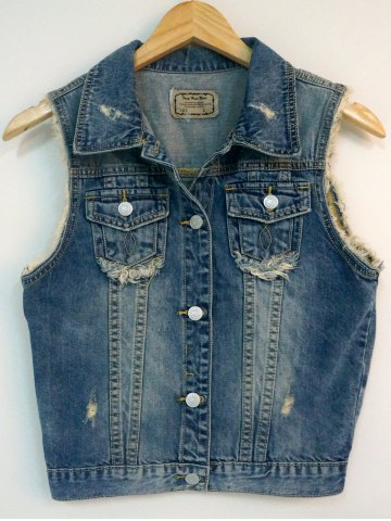 Trendy Raw Edged Monkey Pattern Ripped Denim Vest