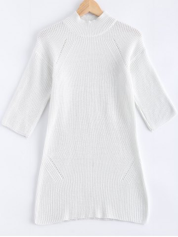 Outfit 3/4 Sleeves Loose Pure Color Sweater Dress