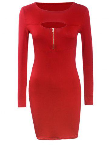 Sale Long Sleeve Tight Front Cutout Zipper Bodycon Dress