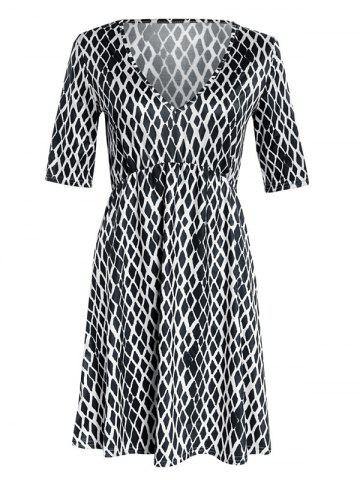 Fashion V Neck  Rhombus Print Skater Dress