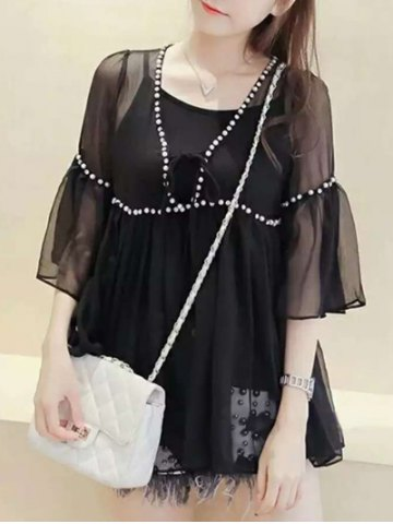 Cheap Bell Sleeve Voile Splicing Blouse Twinset
