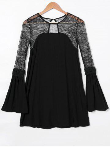 Unique Lace Splicing Open Back Bell Sleeve Dress