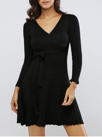 Store Belted Long Sleeve V Neck Pleated Dress