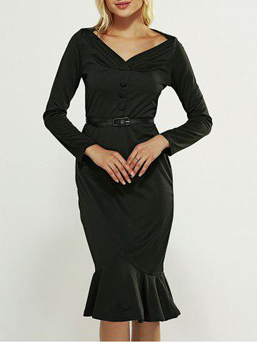 Hot Midi Long Sleeve Mermaid Vintage Prom Dress BLACK 3XL