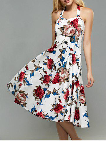 Store Halter High-Waisted Rose Print Backless Vintage Dress WHITE 2XL