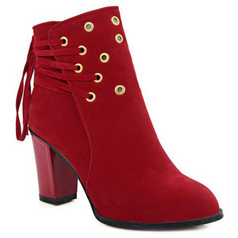 Latest Lace-Up Chunky Heel Design Short Boots