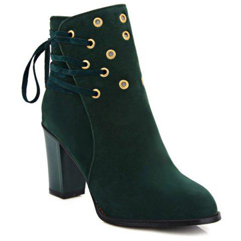 Fashion Lace-Up Chunky Heel Design Short Boots GREEN 39