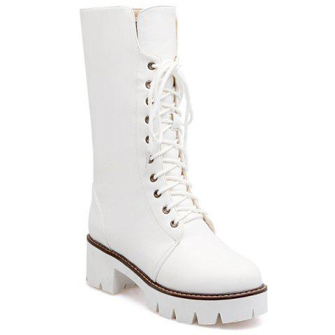 Chunky Heel and Lace-Up Design Mid-Calf Boots - WHITE 39