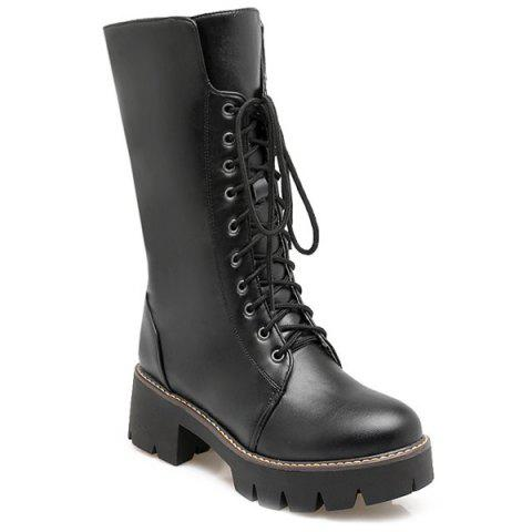 Chunky Heel and Lace-Up Design Mid-Calf Boots - Black - 37