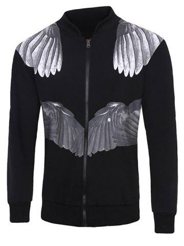 Hot Zip Up 3D Wing Print Long Sleeve Jacket
