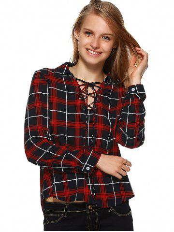 Fancy Plaid Flannel Lace Up Front Blouse - XL BLACK AND WHITE AND RED Mobile
