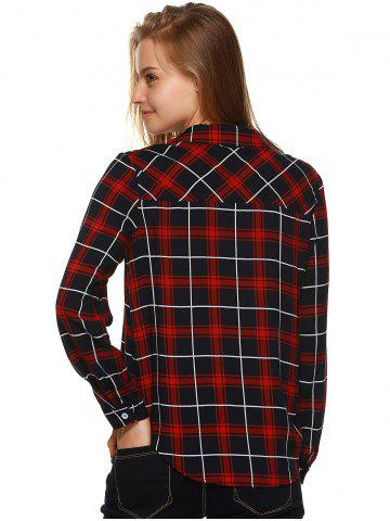 Online Plaid Flannel Lace Up Front Blouse - M BLACK AND WHITE AND RED Mobile