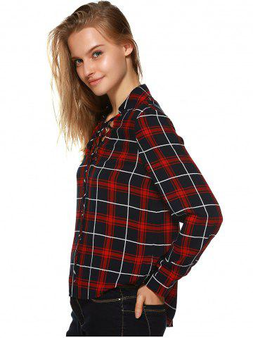 Sale Plaid Flannel Lace Up Front Blouse - M BLACK AND WHITE AND RED Mobile