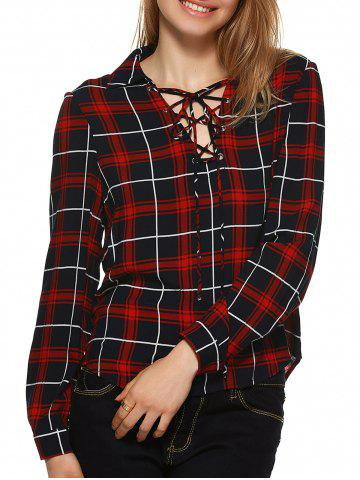 Fashion Plaid Flannel Lace Up Front Blouse - M BLACK AND WHITE AND RED Mobile