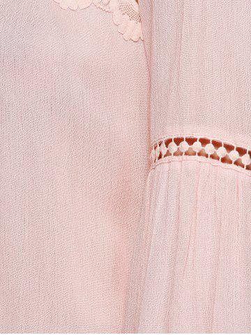 Fashion Sweet Bell Sleeve Hollow Out Blouse - L SHALLOW PINK Mobile