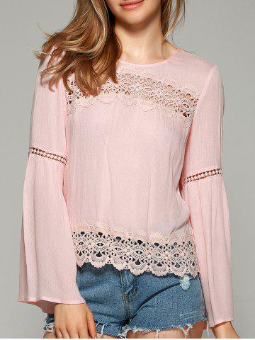 Online Sweet Bell Sleeve Hollow Out Blouse SHALLOW PINK L