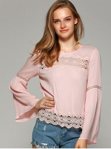 Discount Sweet Bell Sleeve Hollow Out Blouse - L SHALLOW PINK Mobile