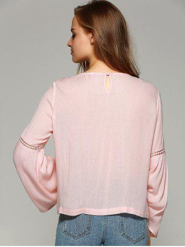 Fashion Sweet Bell Sleeve Hollow Out Blouse - M SHALLOW PINK Mobile