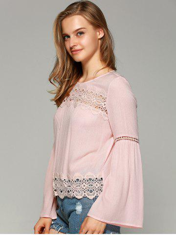 Fashion Sweet Bell Sleeve Hollow Out Blouse - S SHALLOW PINK Mobile