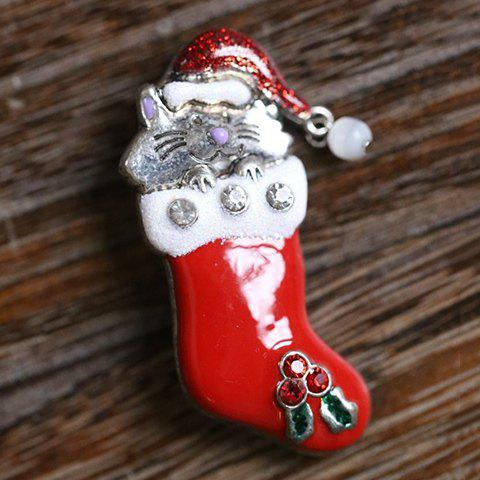 Best Cute Rhinestone Christmas Hat Cat Christmas Stocking Brooch - RED  Mobile