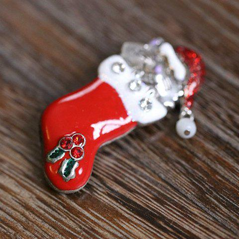 Shops Cute Rhinestone Christmas Hat Cat Christmas Stocking Brooch - RED  Mobile