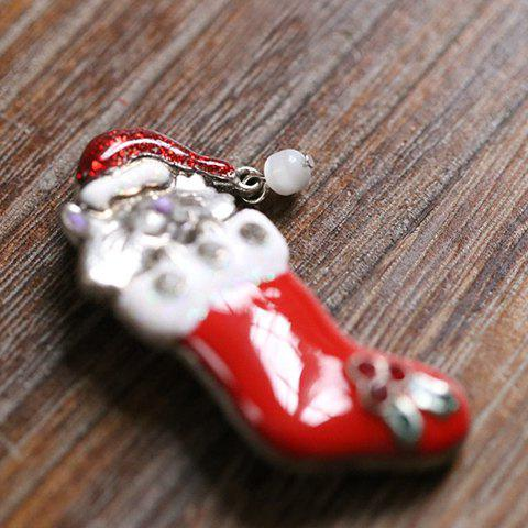 Sale Cute Rhinestone Christmas Hat Cat Christmas Stocking Brooch - RED  Mobile