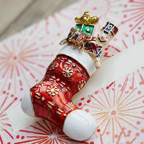 Online Delicate Enamel Red Charm Christmas Gift Brooch - RED  Mobile