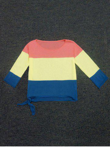 Outfits Color Block Lace-Up Sweater