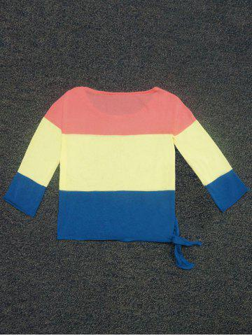 Fancy Color Block Lace-Up Sweater -   Mobile
