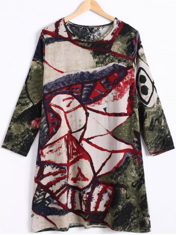 Latest Plus Size Long Sleeve Colorful Print Dress RED 2XL