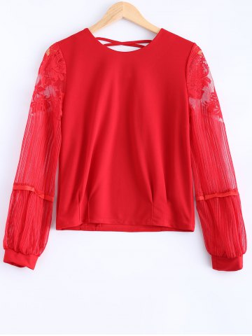 Buy Plus Size Lace Spliced Puff Sleeves Blouse