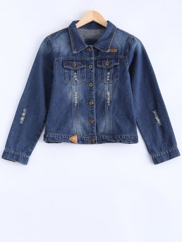 Outfits Bleach Wash Frayed Jean Jacket