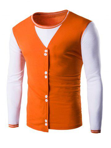 Affordable Buttons Design Long Sleeve T-Shirt ORANGE 2XL